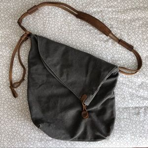Canvas Crossbody Bag with Leather Accents
